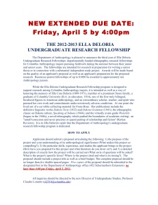 New Extended Due Date APRIL 5 at 4pm - 2012-2013 Ella Deloria Undergraduate Research Fellowship